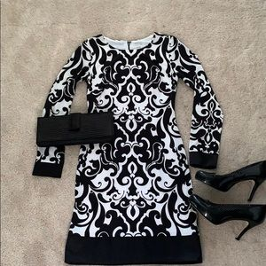 Black and white form fitting dress